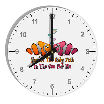 "Kissy Clownfish Only Fish In The Sea 8"" Round Wall Clock with Numbers"