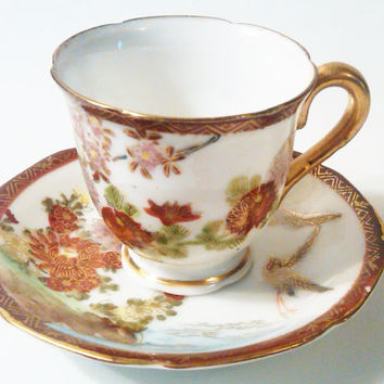 Vintage Miniature Oriental Porcelain Tea Cup & Saucer, Hand Painted Floral and Bird Design, Scalloped edges, Gold Rim Cup and Saucer