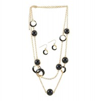 Black Orbit Necklace And Earrings Jewelry Set