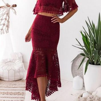 Burgundy Lace Swallowtail Mermaid Off Shoulder Backless Two Piece Party Maxi Dress