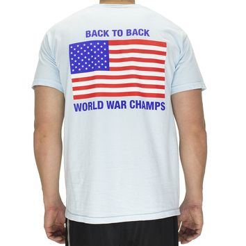 Back to Back World War Champs Pocket Tee in Chambray by Full Time American