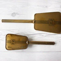 Vintage Gold Toned Vanity Mirror and Brush Set | Art Nouveau Style