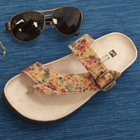White Mountain Shoes Carly Natural Floral Sandal