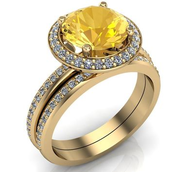 Portia 8mm Natural Citrine Diamond Collar and Shoulders Design 14k Yellow Gold Ring with Option of Matching Wedding Band