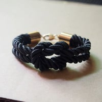 Mens Rope Bracelet, Gold plated to pure copper, Black Silk Rope, Best Gift for Him for Father