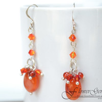 Bridal Earrings Carnelian Stone Long Drop Shape Fashion Earrings 925 Silver Hook Handmade by Flower GemStone