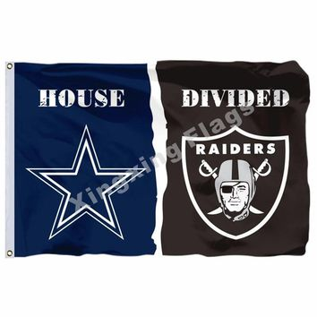 Dallas Cowboys Oakland Raiders House Divided Flag 3ft x 5ft Polyester NFL Banner Size No.4 90*150cm Custom flag