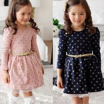 Hot 2018 Winter Autumn Baby Girl Boutique Dress Gold Polka Dots Print Cute Princess Casual Kids Dresses Toddler Girls Clothes