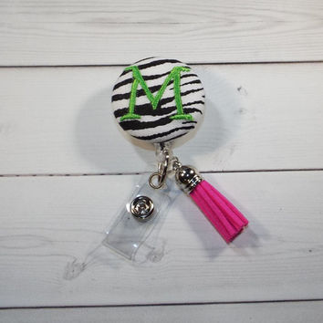 Zebra personalized Retractable ID Badge Holder Reel  - Fabric Button - monogram - tassel