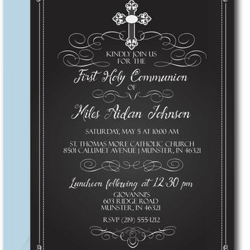 Chalkboard First Communion Invitations