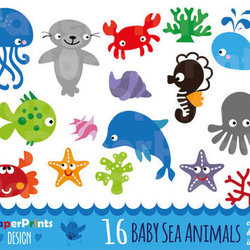 Clipart Baby Sea Animals, sea animals clipart, clipart sea animals, clip art sea animals, bath clipart, baby clipart, Digital, scrapbooking
