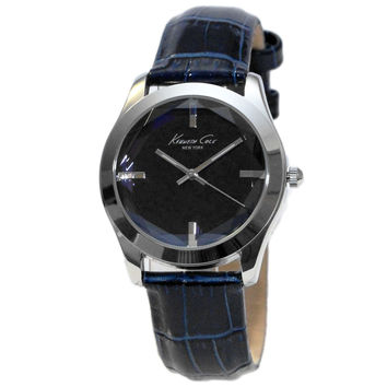 Kenneth Cole KCW2003 Women's New York Blue Dial Blue Leather Strap Steel Watch