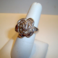 Hand Cast Rose Ring in Sterling Silver - Fun Modern Designed Ring - 100 Per Cent Sterling Silver - Statement Ring - Handmade - SRAJD