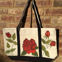 Zippered Tote Bag Hand Painted with Red Roses