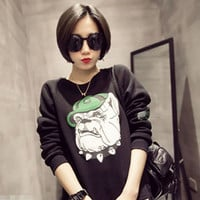 Bulldog Printed Long Sleeve Sweater