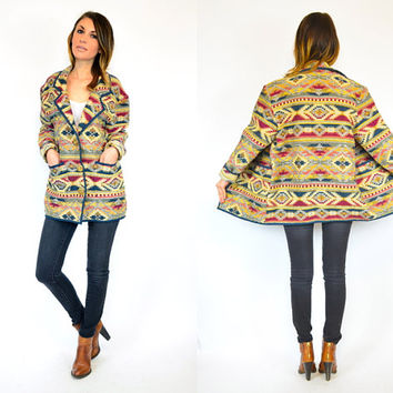 tribal SOUTHWESTERN oversized & boxy TAPESTRY geometric COAT jacket, extra small-small