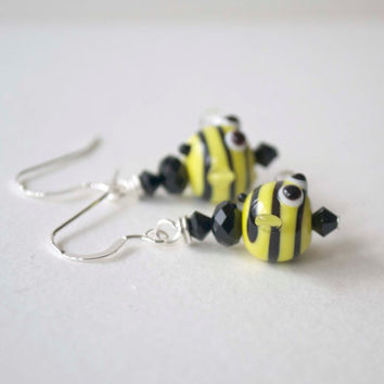 Bumble Bee Earrings, Yellow Earrings, Black StripedEarrings, Lampwork Glass Bead Earrings, Insect Jewelry