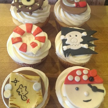 Aye Matey! Pirates! Set of 12 (one dozen) 2 of each Pattern Fondant Cupcake, Cake, Cookie Toppers.