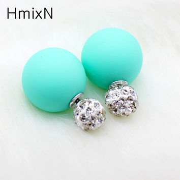 New two ball Earring Double side Stud Earring Crystal For Women Korea Silver plated Statement Jewelry brinco boucle d'oreille