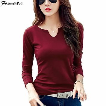 Foxmertor T-shirt Women 2018 Autumn Cotton Female T Shirts V-Neck Solid Striped Tops Casual Basic Lady Tees Plus Size