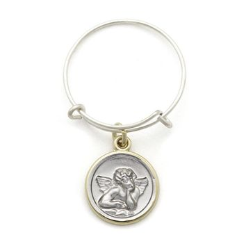 Alex and Ani Two Tone Cherub Expandable Wire Ring - Argentium Silver