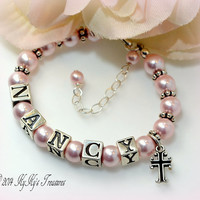 Personalized Pink Flower Girl Bracelet with Sterling Silver Cross Charm, Flower Girl Jewelry, Personalized Jewelry, Flower Girl Gift