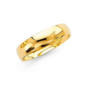 Men's Simple Wedding Band 4MM - 14K Solid Yellow Gold