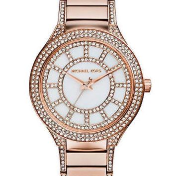 Michael Kors Ladies Kerry Glitz MOP Dial Rosegold Stainless Steel Watch MK3313