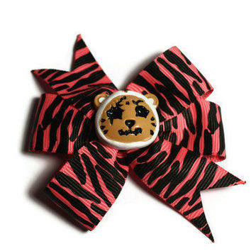 Pink Zebra ZOMBIE Bear Hair Bow by DeathwishDesign on Etsy