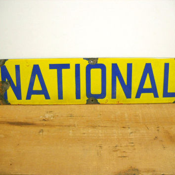 Vintage Street Sign Yellow and Blue Enamel Metal Sign NATIONAL
