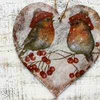 Large 6' Christmas ornament Christmas decoration rustic cottage chic shabby chic red white brown billfinch