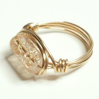 20% OFF SHOP Champagne Crackle and Gold Wire Wrapped Ring