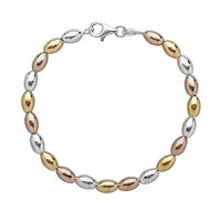 14k Gold Over Silver & Sterling Silver Tri-Tone Bead Bracelet (Yellow)