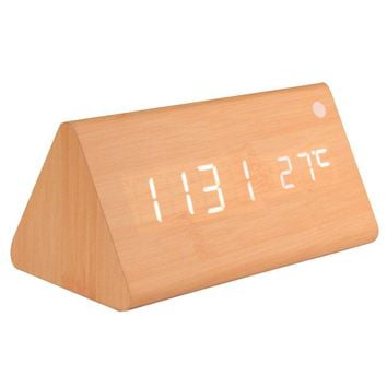 Triangle Wooden Digital Alarm Clock Calendar Thermometer for Home Office LED Display Electronic Desktop Digital Table Clocks