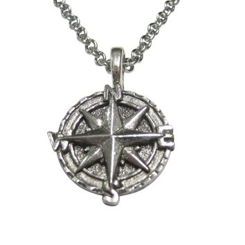 Silver Toned Textured Nautical Compass Pendant Necklace