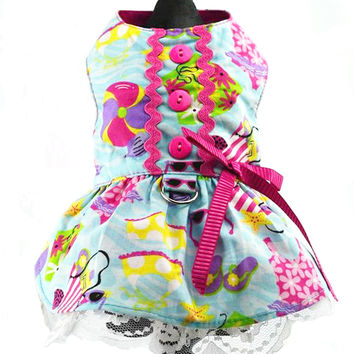 Beach Print Dog Harness Dress