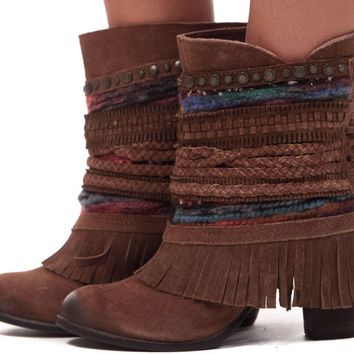 Tan Suede Bootie with Braided Multi Trim