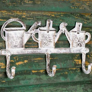 Shabby Chic Vintage Watering Cans Wall Hooks - Set Of 2 - *FREE SHIPPING*