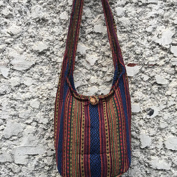 Aztec Woven Crossbody Sling bag Tribal Boho Style Nepali Bag Hippie festival Ikat Fashion Hobo Tote Messenger bag Gift vegan her him Unique