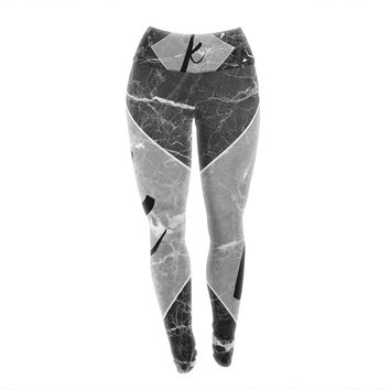 "KESS Original ""Black Marble Monogram"" Yoga Leggings"