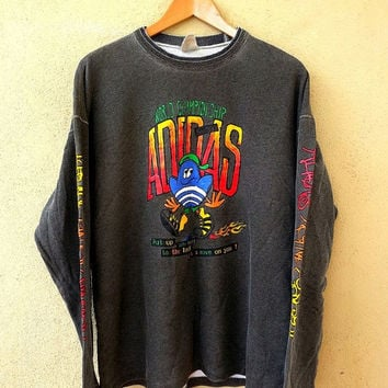 ON SALE Vintage 1990s ADIDAS WorldChampionship Running Cartoon Sweater Jumper Hip Hop Sweatshirt Swag 90's