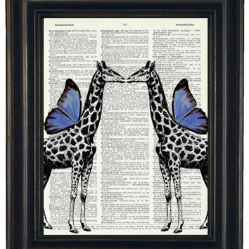 BOGO SALE Upcycled Dictionary Book Print Giraffe Couple  with Blue Wings on Vintage Dictionary Page 8 x 10 HHP Original Design and Concept