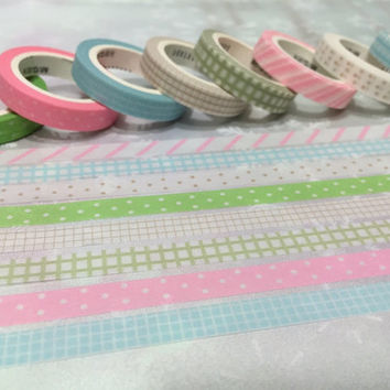 8 rolls x 5M Rainbow Washi tape colorful masking tape set pink polka dots blue gingham check green washi tape thin tape sticker tape gift