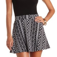 High-Waisted Tribal Print Skater Skirt - Black/White