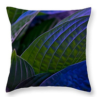 Decorative HOSTA LEAVES throw pillow, scatter cushion square or lumbar, nature design, home decor, home accent, dorm decor, gift ideas