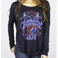 Grateful Dead Women's Long Sleeve Tee Shirt by Junk Food Online in jet Black for sale from Old School Tees | We have many more Dead and other vintage band shirt to choose from at OldSchoolTees.com