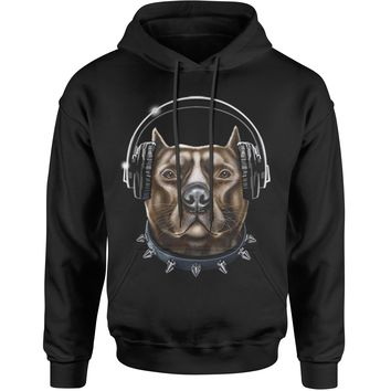 DJ Pitbull With Headphones Adult Hoodie Sweatshirt
