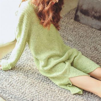 DCCK6HW Temperament Simple Solid Color Loose Long Sleeve Bat Sleeve Split Middle Long Section Sweater Dress