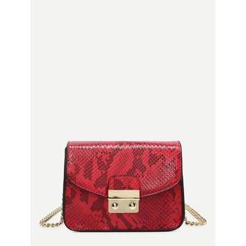 ONETOW Snakeskin Print PU Chain Crossbody Bag
