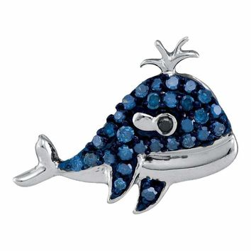 10kt White Gold Women's Round Blue Color Enhanced Diamond Whale Animal Pendant 1-5 Cttw - FREE Shipping (US/CAN)